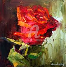 red rose flower on canvas painting