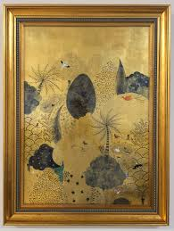 Indigo, shell gold, and pigments on gold leaf.