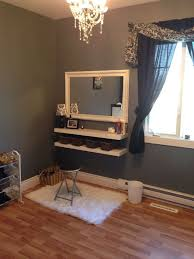 Self Paint Floating Shelves Enchanting Diy Closet Vanity Two Floating Shelves Four Baskets Yard Sale Mirror