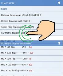 Machinists Calculator Tap Drill Charts Inch And Metric