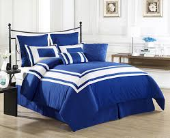 cozy beddings lux décor comforter set king royal blue with white stripe cozy beddings
