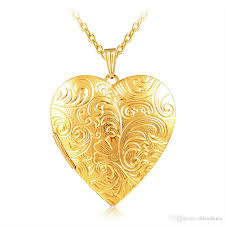 2019 whole jewelry big heart lockets necklace charm necklace 18k gold plated photo locket frame pendant necklace for women girls lover gift from