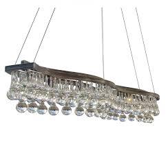 48 inch rectangular double curve glass drop chandelier