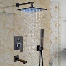 votamuta led lights 10 inch rainfall shower faucet set 1 handle bathtub shower tub spout 3 ways with handheld spray oil rubbed bronze wall s furniture
