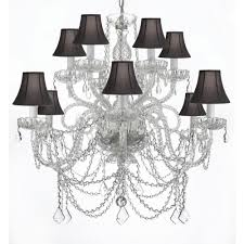 venetian style 12 light crystal chandelier with black shades