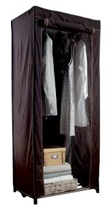 cottage canvas metal frame portable wardrobe brown