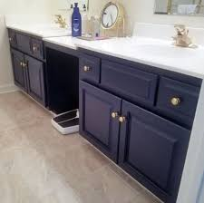 blue bathroom vanity cabinet. Brown Textured Floor With Navy Blue Vanity Cabinet Using Gold Knobs For Traditional Bathroom Ideas
