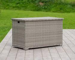 outdoor storage box in grey rattan direct