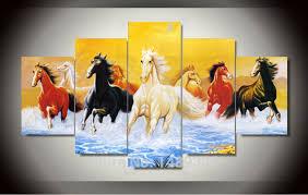 7 horses wall art