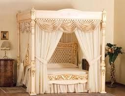 King Size Wood Canopy Bed Frame Dark Curtains Graceful And Also With ...