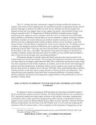 Summary Strengthening The Military Family Readiness System For A