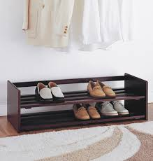 2 tier wide stackable shoe rack in brown wood for shoes organizer idea