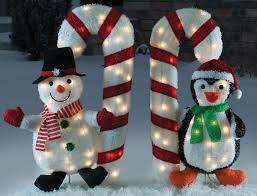 Outdoor Christmas Candy Cane Decorations Amazon Christmas 60 pc 360 Tinsel Snowman Penguin Holding 33