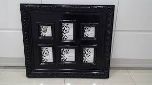 black gloss wall hanging ornate multi aperture picture photo frame approx 74cm x 64cm