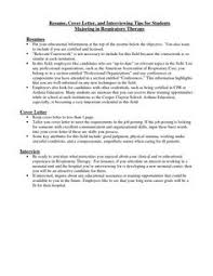 Resume Student Respiratory Therapist Cover Letter Best
