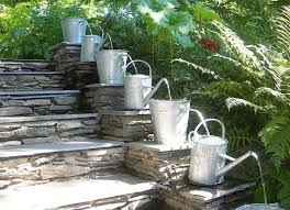 outdoor water fountains with natural stone stairs