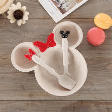 3 Pcs <b>Children Baby Bamboo Tableware</b> Solid Feeding Mickey ...
