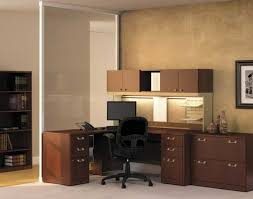 beauteous home office. Desk : Furniture Stunning Home Office Decoration Using Light Beige Wall Paint Including Wheel Black Leather Chair And Solid Cherry Beauteous L