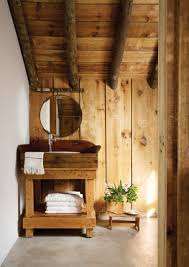 rustic cottage bathroom with reclaimed timber wood panel walls nonagon style