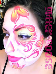 day of the dead half face paint pink makeup by glitter goose ad painting art meaning day of the dead half face paint