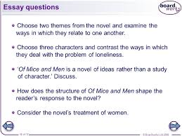 of mice and men section six ppt video online  16 essay questions