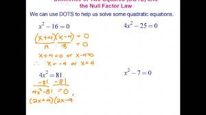 solving quadratic equations using the difference of two squares dots