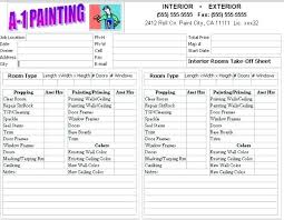 contractor forms templates painting contracts samples interior painting estimate template