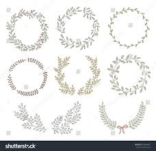 Of Wreaths Hand Drawn Set Wreaths Laurels Circular Stock Vector 298448981