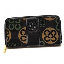 Coach Logo Signature Large Black Wallets CKB