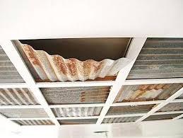 corrugated metal ceiling in bathroom trim