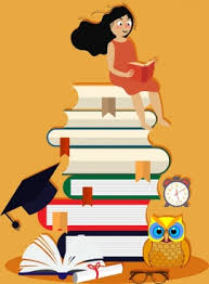 knowledge conceptual drawing reading huge books stack icons