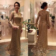 Gold Lace Mother Of The Bride Dresses Long Sleeve Sheath