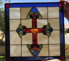 cross leaded stained glass window panel 18 x 18 in