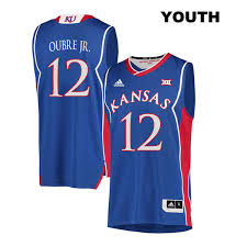 12 Jayhawks Jersey Retro Kansas No Kelly College Youth Blue Oubre Basketball Stitched Adidas Jr Authentic