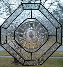stained glass panel with columbia depression glass plate