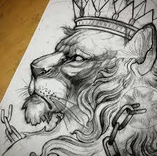 черно белый эскиз льва с короной Tattoo эскиз тату татуировки и
