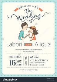 Cartoon Wedding Invitation Cards Designs Wedding Invitation Card Template With Cute Groom And Bride