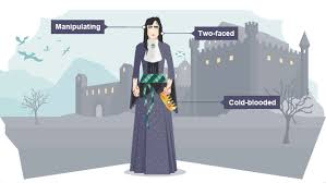 bbc bitesize ks english literature characters revision  lady macbeth stands in front of a castle holding a crown and blood on her