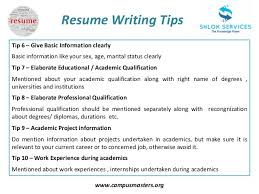 writing a resume tips