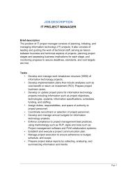 Project Manager Job Description It Project Manager Job Description Template Word Pdf
