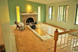 cork floor being installed this is how