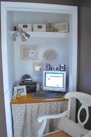 creative small home office with simple computer desk in small closet