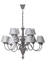 grey 12 arm chandelier with cream shades