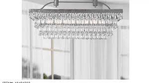 low antique silver 6 light rectangular glass droplets chandelier
