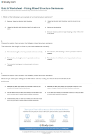 quiz worksheet fixing mixed structure sentences com print sentence structure identify and avoid mixed structure sentences worksheet