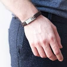 personalised men s engraved print leather bracelet