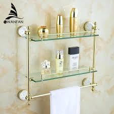 bathroom shelf with towel bar bathroom shelves tempered double glass shelf towel rack shower storage wall shelf solid brass gold bath bathroom glass shelf