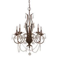 5 light bronze crystal chandelier