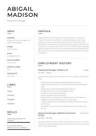 Resume Restaurant Manager Restaurant Manager Resume Sample Writing Guide