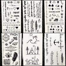 летний стиль временные татуировки наклейки кемпинг подстилка письмо перо дети